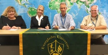 Everglades University Campus Vice President Caroline King and EU President Kristi Mollis met with Europe-American Aviation General Manager Gary M. Lesley and Chief Instructor Tom Navin to sign articulation agreement.