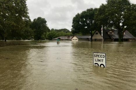 A flooded street after a hurricane