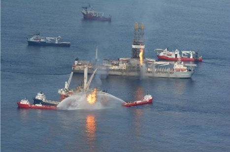 An oil rig in flames due to an explosion in the Gulf of Mexico