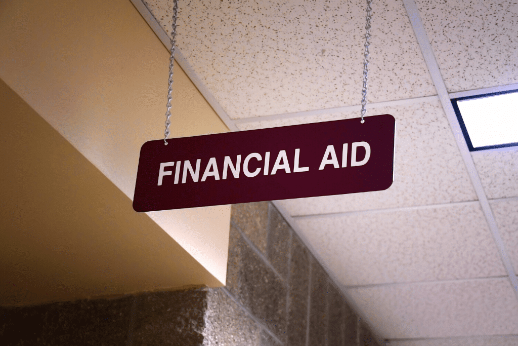 A financial aid sign in a college building