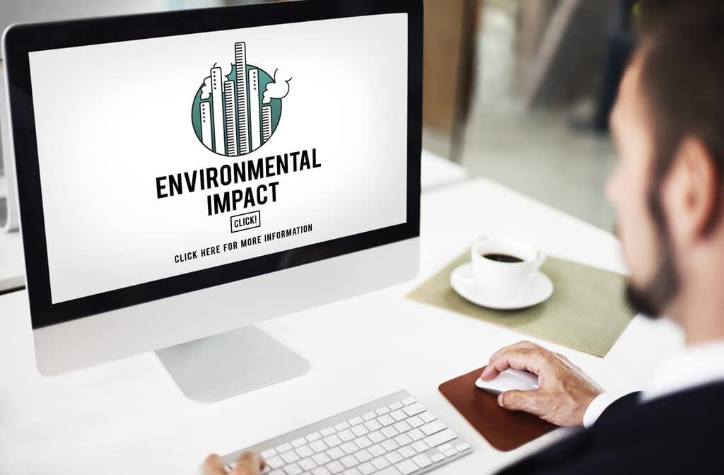 Laptop showing environmental impact